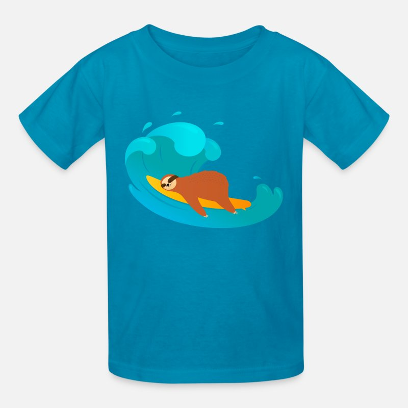 Collections T-Shirts - Sloth Sleeping On Surfboard | Big Wave - Kids' T-Shirt turquoise