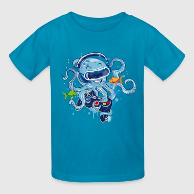 Octopus with gamepad and VR goggles - Kids' T-Shirt