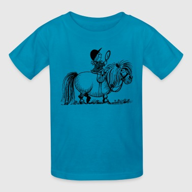 Thelwell Penelope Riding A Pony - Kids' T-Shirt