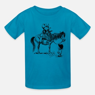 Norman Thelwell Thelwell Cowboy With Riding Pupil - Kids' T-Shirt
