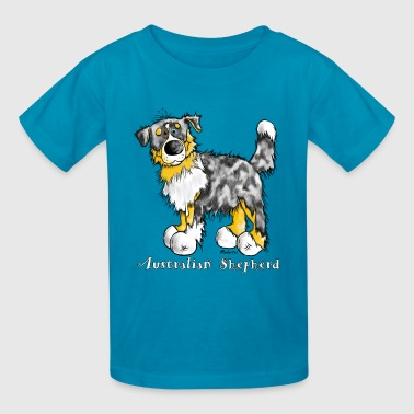 Australian Shepherd Cartoon Cute Australian Shepherd – Aussie - Kids' T-Shirt