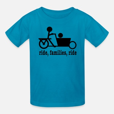 Cargo Bike Bakfiets Ride Families (lower case) - Kids' T-Shirt