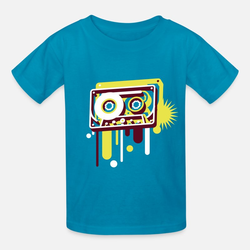 3d T-Shirts - 3D music cassette in graffiti style - Kids' T-Shirt turquoise
