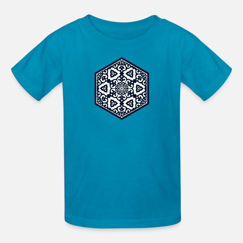 Ancient T-Shirts - Ottoman turkish blue ware tracery design - Kids' T-Shirt turquoise