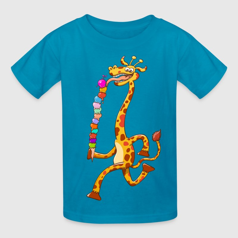 Cool Giraffe Eating Ice Cream - Kids' T-Shirt
