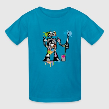 A robot with a paintbrush - Kids' T-Shirt