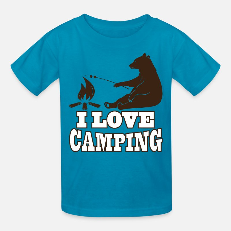 Campfire T-Shirts - I Love Camping Campfire Bear - Kids' T-Shirt turquoise