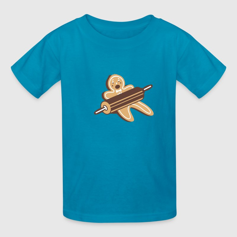 A rolling pin and a gingerbread man  - Kids' T-Shirt