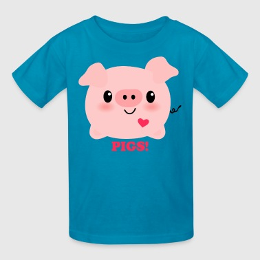 Kawaii I Love Pigs - Kids' T-Shirt