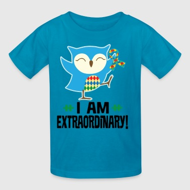 Autism Awareness Ribbon Support Owl - Kids' T-Shirt