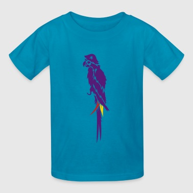 Parrot pirate with eye patch, pirate hat and hook  - Kids' T-Shirt