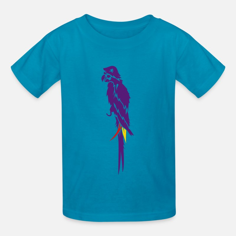 Pirate T-Shirts - Parrot pirate with eye patch, pirate hat and hook  - Kids' T-Shirt turquoise