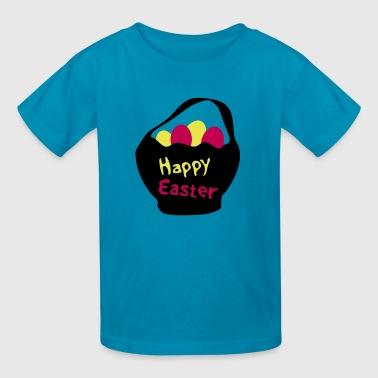 Happy Easter txt & Easter eggs - Kids' T-Shirt