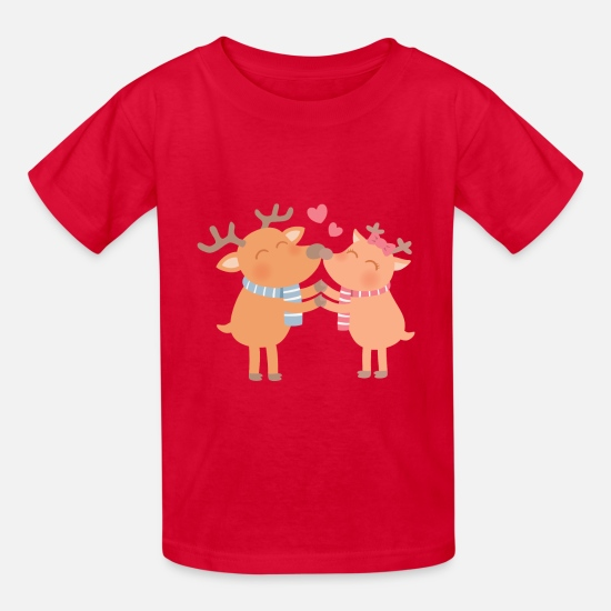 Kids T-Shirts - Cute Reindeer Nose Nuzzle - Kids' T-Shirt red
