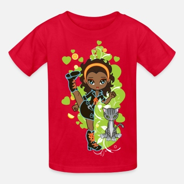Black Girl Aisha the African American Chibi Girl - Kids' T-Shirt