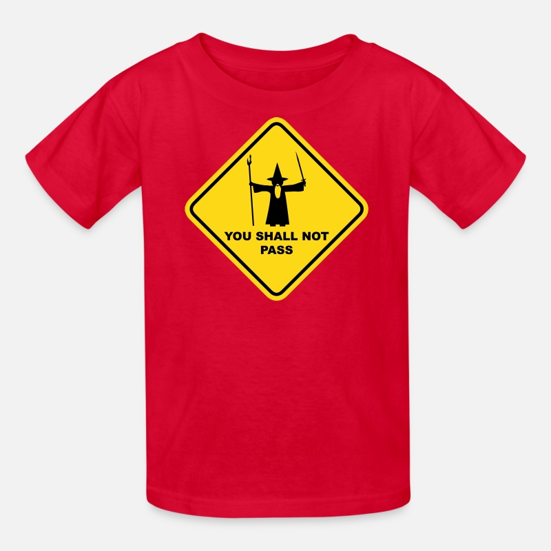 "Art T-Shirts - ""YOU SHALL NOT PASS"" Gandalf Road Sign - Kids' T-Shirt red"