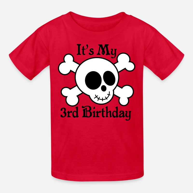 3rd Birthday Boys Pirate Skull Kids T Shirt