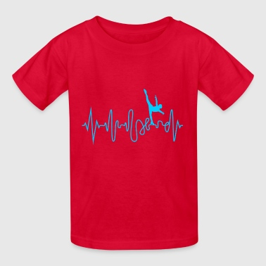 Heartbeat Ice Skating Line Graphics Pulse - Kids' T-Shirt