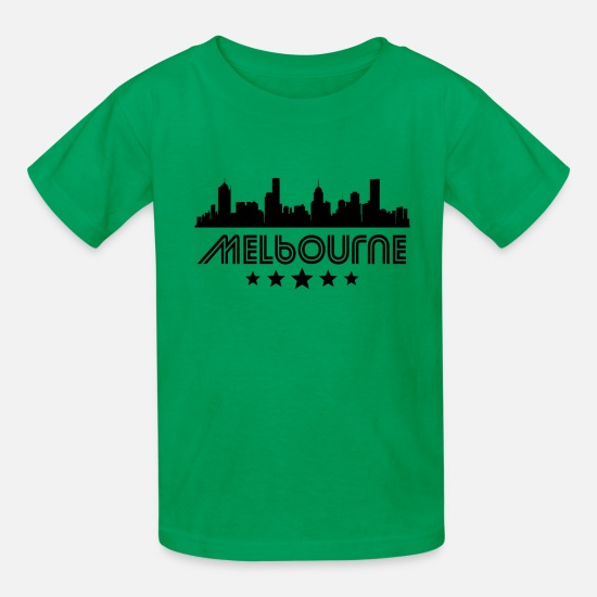 Melbourne T-Shirts - Retro Melbourne Skyline - Kids' T-Shirt kelly green