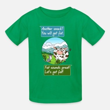 Bavaria Cute cat and cow getting hungry design - Kids' T-Shirt
