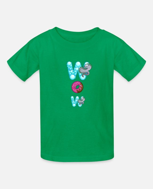Graphic Art T-Shirts - Wow - Kids' T-Shirt kelly green