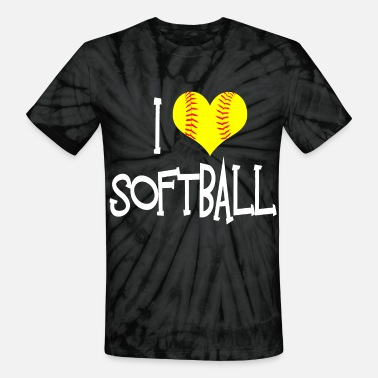 I Love Softball I Love Softball - Unisex Tie Dye T-Shirt