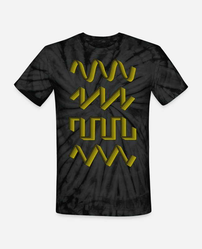 Techno T-Shirts - Synthesizer Synth Audio Analog Waves - Unisex Tie Dye T-Shirt spider black