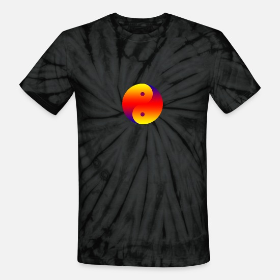 Harmony T-Shirts - Yin Yang colorful - Unisex Tie Dye T-Shirt spider black