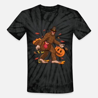 Bigfoot Thanksgiving Day Funny Bigfoot Thanksgiving Day Turkey Costume - Unisex Tie Dye T-Shirt