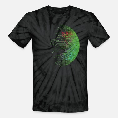 Technology Binary Abstract Circuit Board - Unisex Tie Dye T-Shirt