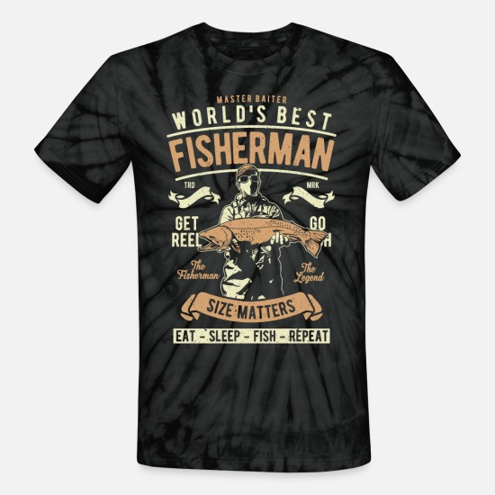 World's T-Shirts - World s Best Fisherman - Unisex Tie Dye T-Shirt spider black