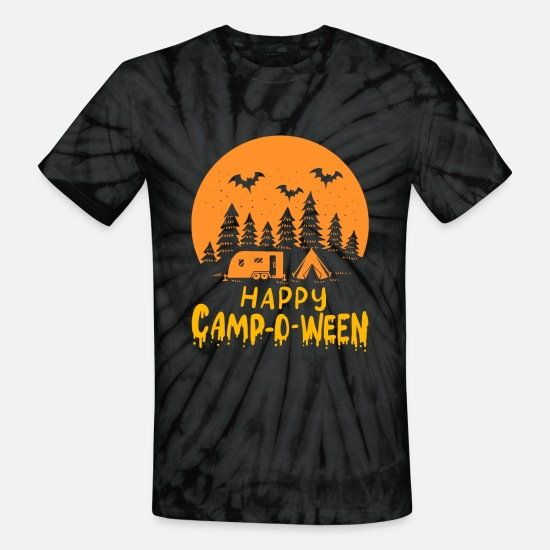 Tent T-Shirts - Halloween Camping - Happy Camp-O-Ween - Unisex Tie Dye T-Shirt spider black