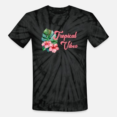 156c1bc87bdfa8 Pink Tropical Vibes with Hawaiian Flowers - Unisex Tie Dye T-Shirt