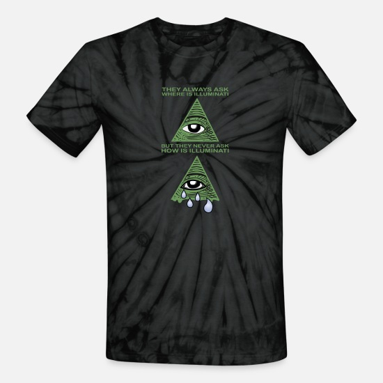 Meme T-Shirts - Funny Illuminati Saying Cool Meme T-Shirt - Unisex Tie Dye T-Shirt spider black