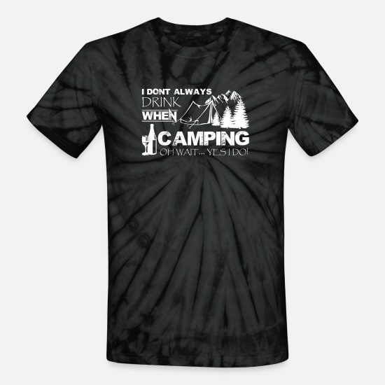 Camping T-Shirts - Drinking And Camping Shirt - Unisex Tie Dye T-Shirt spider black