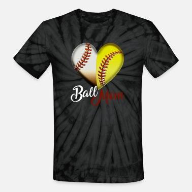 b0adb1684 Funny Ball Mom Heart design Gift for Baseball - Unisex Tie Dye T-Shirt