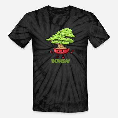 Shrub Bonsai ornamental tree. Bonsai, shrub grown in a p - Unisex Tie Dye T-Shirt