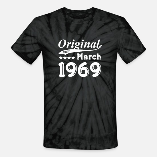 March T-Shirts - Original Since March 1969 Gift - Unisex Tie Dye T-Shirt spider black