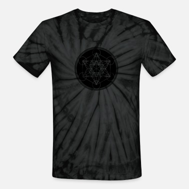 Platonic Solids Vector - Metatrons Cube - Flower of Life - Unisex Tie Dye T-Shirt