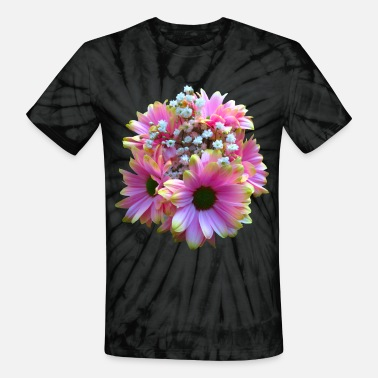bunch of flowers pink yellow daisy daisies bloom - Unisex Tie Dye T-Shirt