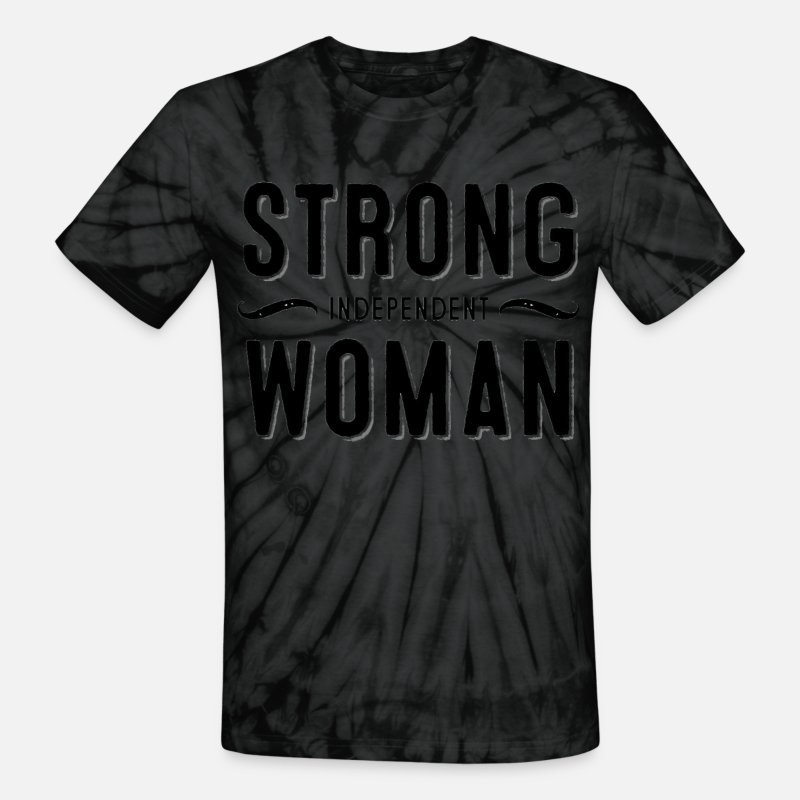 Woman T-Shirts - Strong Independent Woman - Unisex Tie Dye T-Shirt spider black