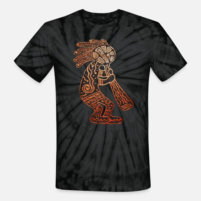 Kachina T-Shirts - Kokopelli - Unisex Tie Dye T-Shirt spider black