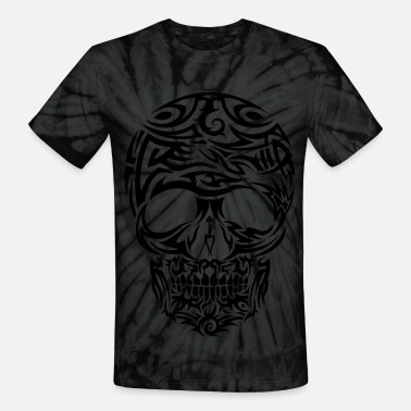 Tribal Tattoo Tribal Tattoo Style Skull - Unisex Tie Dye T-Shirt