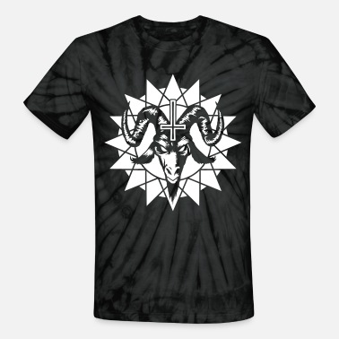 Antichrist Satanic Goat Head with Chaos Star (inverted) - Unisex Tie Dye T-Shirt