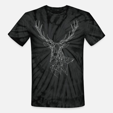 Fine Line Deer with magnificent antlers of fine lines - Unisex Tie Dye T-Shirt