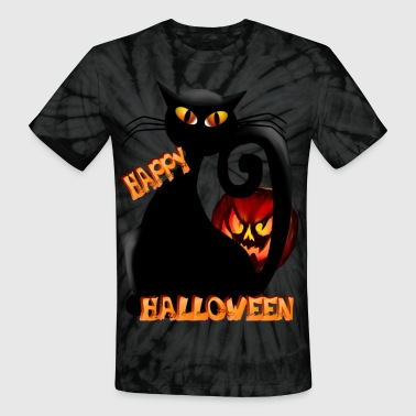 Fat Pumpkin and Black Kitty - Unisex Tie Dye T-Shirt