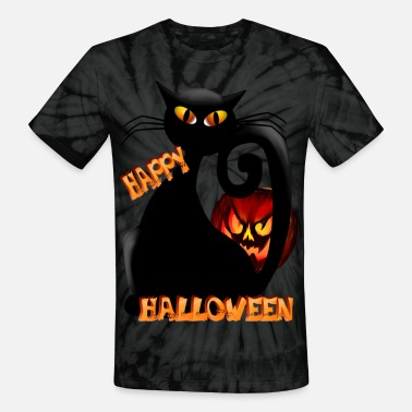 Halloween Cat Fat Pumpkin and Black Kitty - Unisex Tie Dye T-Shirt