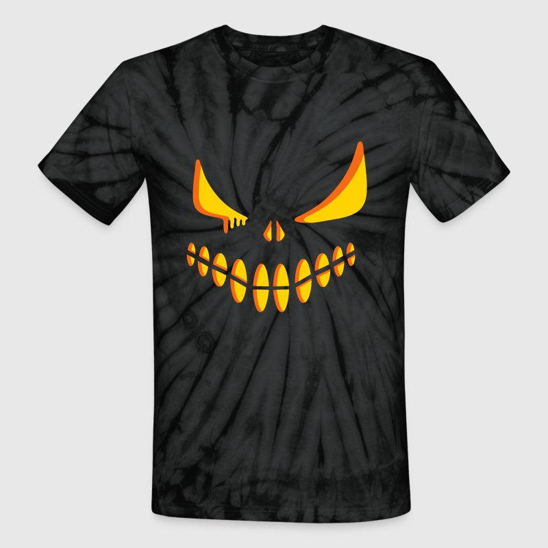 An illuminated pumpkin face - Unisex Tie Dye T-Shirt