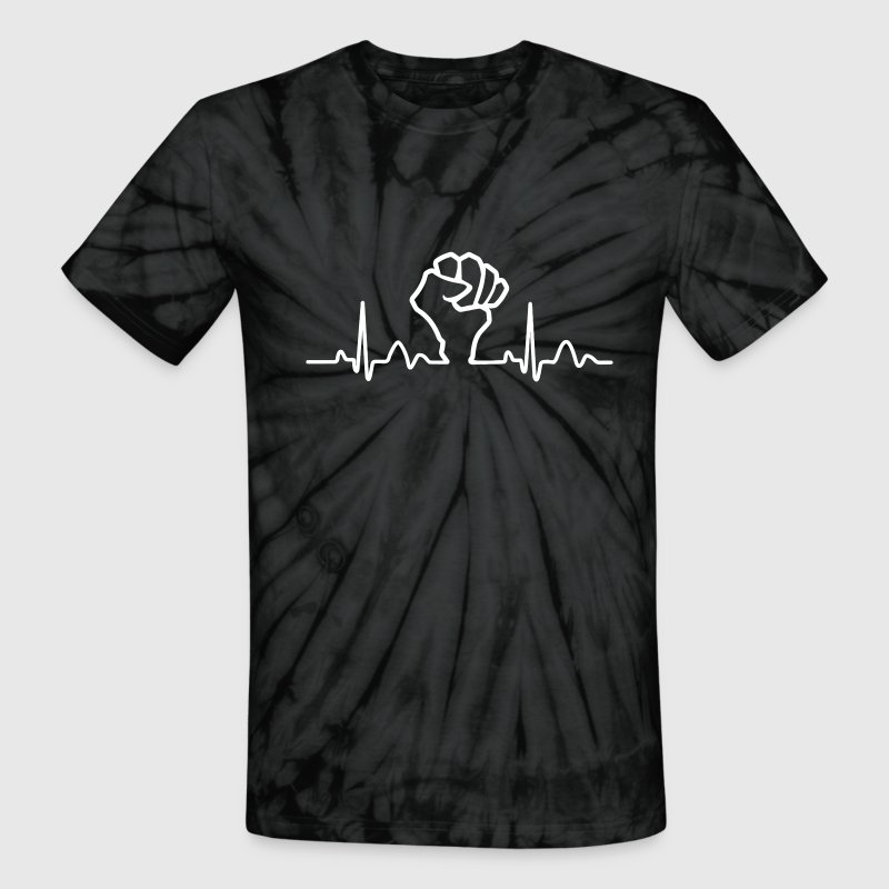 Lines of Heart Fist electrocardiogram heart pulse - Unisex Tie Dye T-Shirt