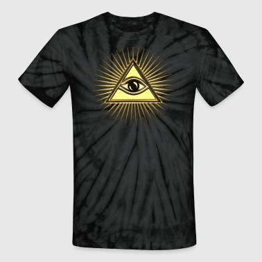 America Dollar Illuminati Pyramid & All-Seeing Eye - Symbol of Omniscience - Unisex Tie Dye T-Shirt